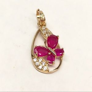 New gold fill ruby butterfly pendant necklace